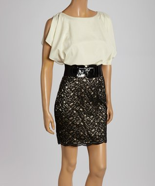 Pearl & Black Lace Belted Blouson Dress