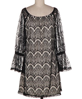 Black Sheer Scalloped Lace Bell-Sleeve Tunic