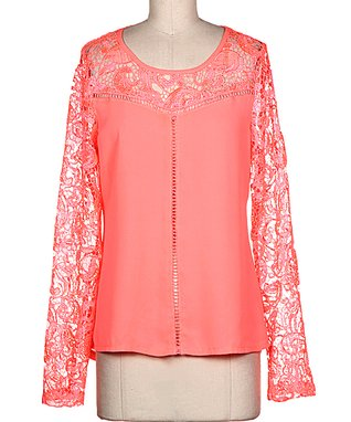 Peach Lace Sleeveless Sweetheart Top