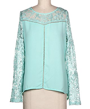 Neon Coral Sheer Lace Long-Sleeve Top