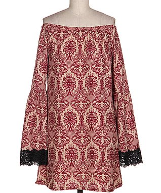 Burgundy & Black Filigree Lace Off-Shoulder Tunic