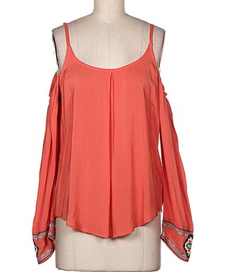 Rust Tribal Off-Shoulder Top