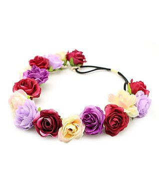 Red & Pink Floral Wreath Headband