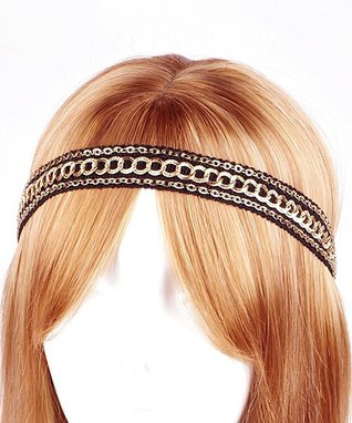 Black & Gold Metallic Chain Stitch Headband