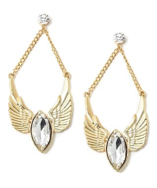 Gold Shine Feathers Drop Earrings