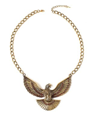 Gold Rhinestone Eagle Pendant Necklace