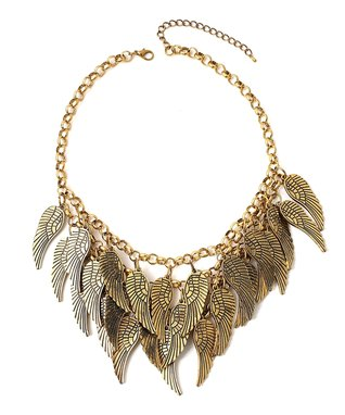 Gold Antic Feather Bib Necklace