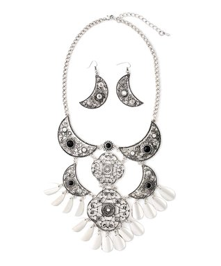 Silver Egyptian Crescent Bib Necklace & Drop Earrings