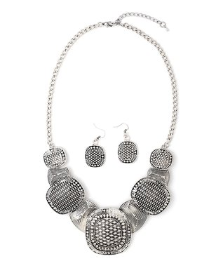 Silver Antique Egyptian Bib Necklace & Drop Earrings