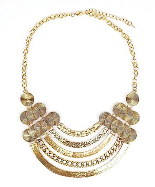 Gold Spike Beaded Bib necklace