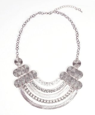 Silver Antique Oatmeal Bib Necklace