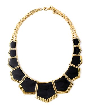 Gold & Black Cleopatra Bib Necklace & Drop Earrings