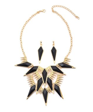 Gold & Black Stone Bib Necklace & Drop Earrings