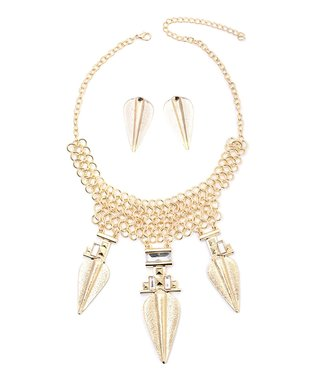 Gold Vintage Oatmeal Bib Necklace