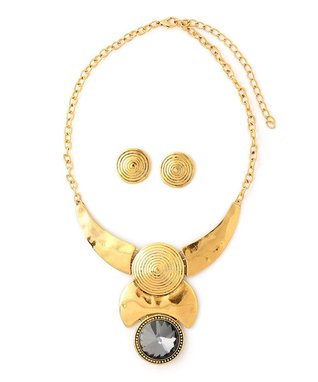 Gold Antique Egyptian Bib Necklace & Drop Earrings