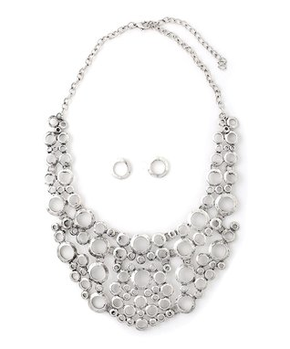 Silver Persian Bubble Bib Necklace & Drop Earrings