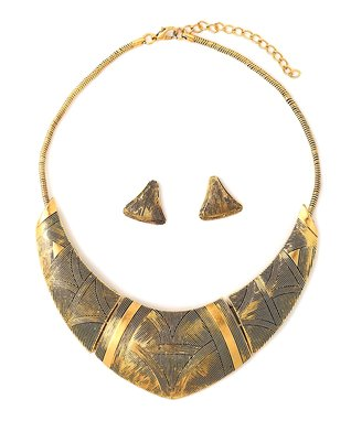 Gold Egyptian Warrior Bib Necklace & Drop Earrings