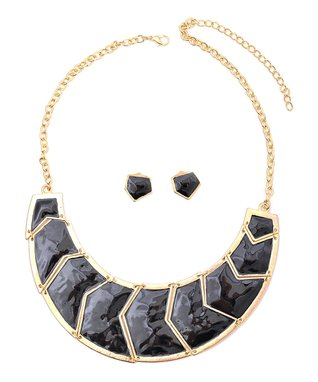 Gold & Black Geo Bib Necklace & Stud Earrings