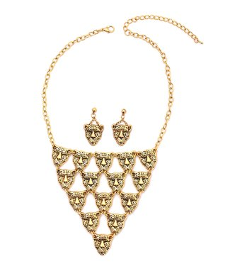 Gold Persian Bubble Bib Necklace & Drop Earrings