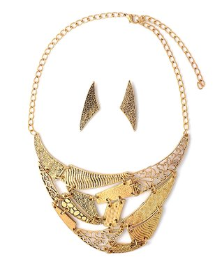 Gold Persian Patchwork Bib Necklace & Stud Earrings