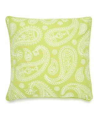 Green Paisley Throw Pillow