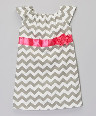 Gray & Pink Zigzag Flower Dress - Infant, Toddler & Girls