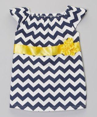 Navy & Yellow Zigzag Flower Dress - Infant, Toddler & Girls
