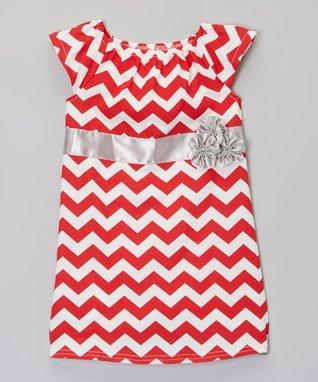 Red & Silver Zigzag Flower Dress - Infant, Toddler & Girls