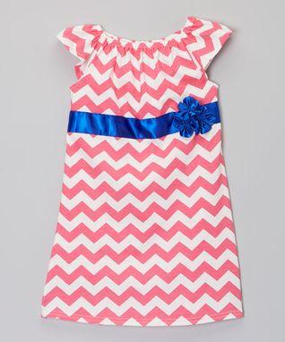 Hot Pink & Blue Zigzag Flower Dress - Infant, Toddler & Girls