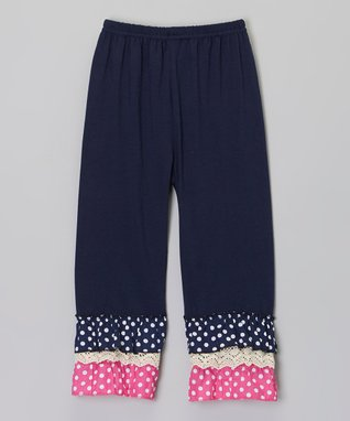 Navy & Pink Polka Dot Ruffle Pants - Infant, Toddler & Girls