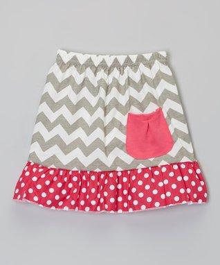 Gray & Pink Zigzag Pocket Skirt - Infant, Toddler & Girls