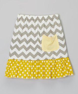 Gray & Yellow Zigzag Pocket Skirt - Infant, Toddler & Girls