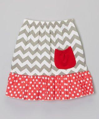 Gray & Red Zigzag Pocket Skirt - Infant, Toddler & Girls