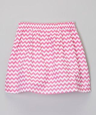 Hot Pink & White Zigzag Skirt - Toddler & Girls