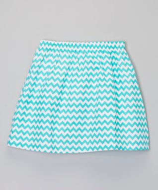 Teal Zigzag Skirt - Toddler & Girls