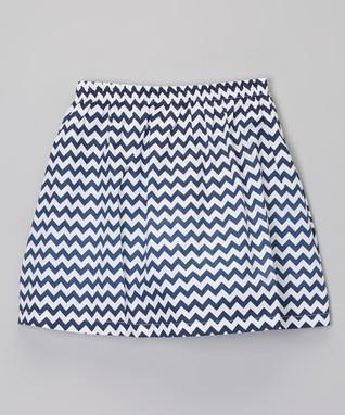 Navy Zigzag Skirt - Toddler & Girls