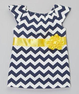 Navy & Yellow Zigzag Flower Top - Infant, Toddler & Girls