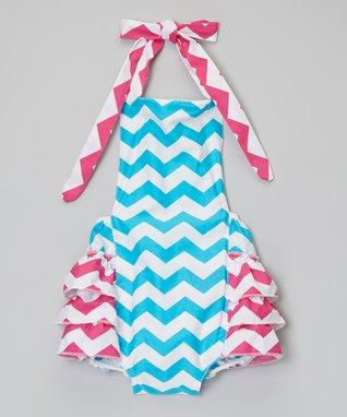 Green & Pink Zigzag Bubble Bodysuit - Infant