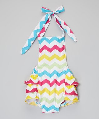 Aqua & Pink Zigzag Bubble Bodysuit - Infant