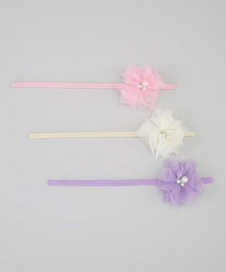 Cream, Lavender & Pink Headband Set