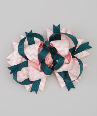 Pink & Yellow Zigzag Bow
