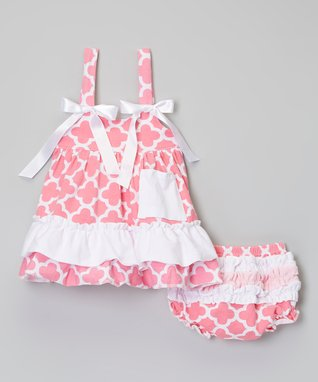 Hot Pink & Blue Quatrefoil Swing Top & Diaper Cover - Infant