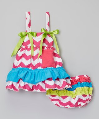 Hot Pink & Lime Zigzag Swing Top & Diaper Cover - Infant