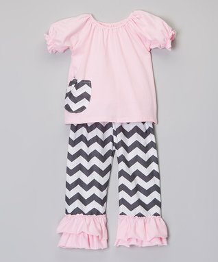 Baby Pink & White Quatrefoil Swing Top & Diaper Cover - Infant