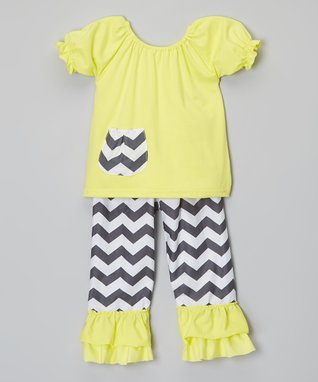 Yellow Zigzag Puff-Sleeve Top & Pants - Girls
