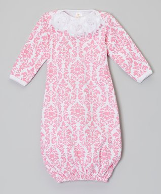 Pink & White Flower Damask Gown - Infant