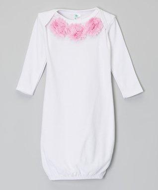 Black & White Flower Damask Gown- Infant