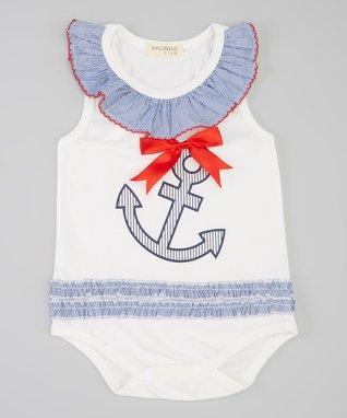 White & Blue Anchor Bodysuit - Infant