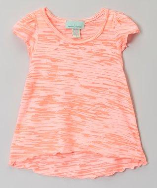 Peach Lettuce-Edge Burnout Tee - Infant, Toddler & Girls