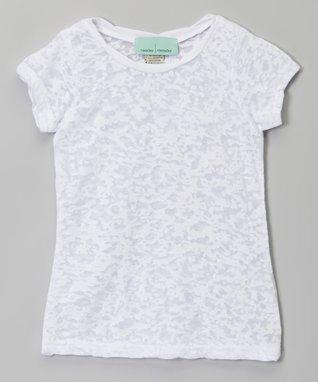 White Scoop Neck Burnout Tee - Infant, Toddler & Girls